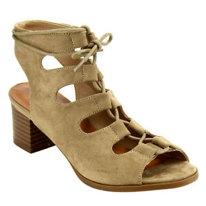 Women's Natural Suede Chunky Low Block Heel Lace Up Gladiator Open Toe Sandals