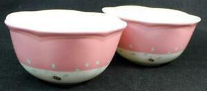 Lenox China BUTTERFLY MEADOW 2 Dessert Bowls Pink Band GREAT CONDITION
