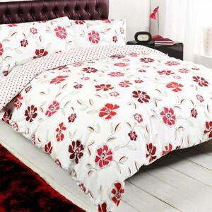 Floral-Polka-rouge-Taches-blanches-Reversible-King-Taille-Couette-Couverture-Ensemble-De-Literie
