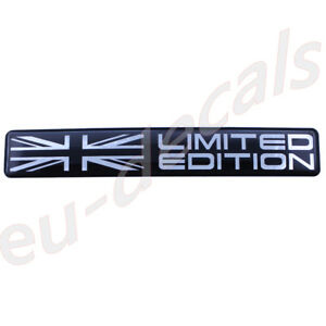 Limited-Edition-Union-Jack-flag-Black-Chrome-badge-3D-Decal-domed-5-1-034-130mm