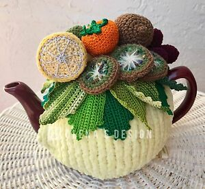 Handmade Crochet tea cozy yellow tea cover kiwi lemon mandarin tea cosy warmer