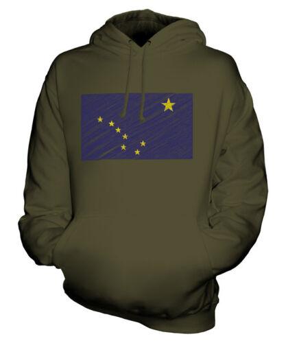 BUNDESSTAAT ALASKA KRITZELTE FLAGGE UNISEX KAPUZENPULLOVER HOODIE HERREN DAMEN
