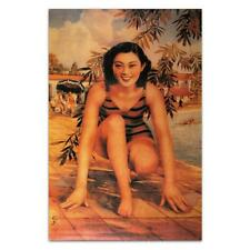 CHINESE PIN UP GIRL POSTER Swimmer Vintage Bathing Suit Print Asian Lady Woman