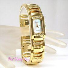 OMAX Seiko Movt Gold PL White Aurora MOP Dress Watch w/ Swarovski Crystal JES610