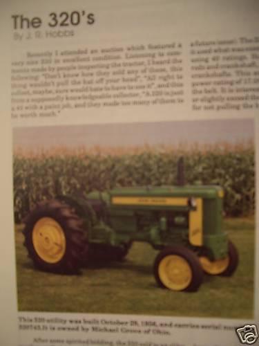 John Deere model 320 Tractor Information GREEN Magazine March 1993