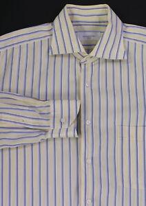 ERMENEGILDO-ZEGNA-Couture-Recent-Yellow-Blue-Striped-Dress-Shirt-42-16-5