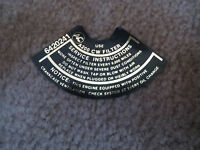 1965 1966 Chevrolet Corvair W Turbo Engine Air Cleaner Base Decal