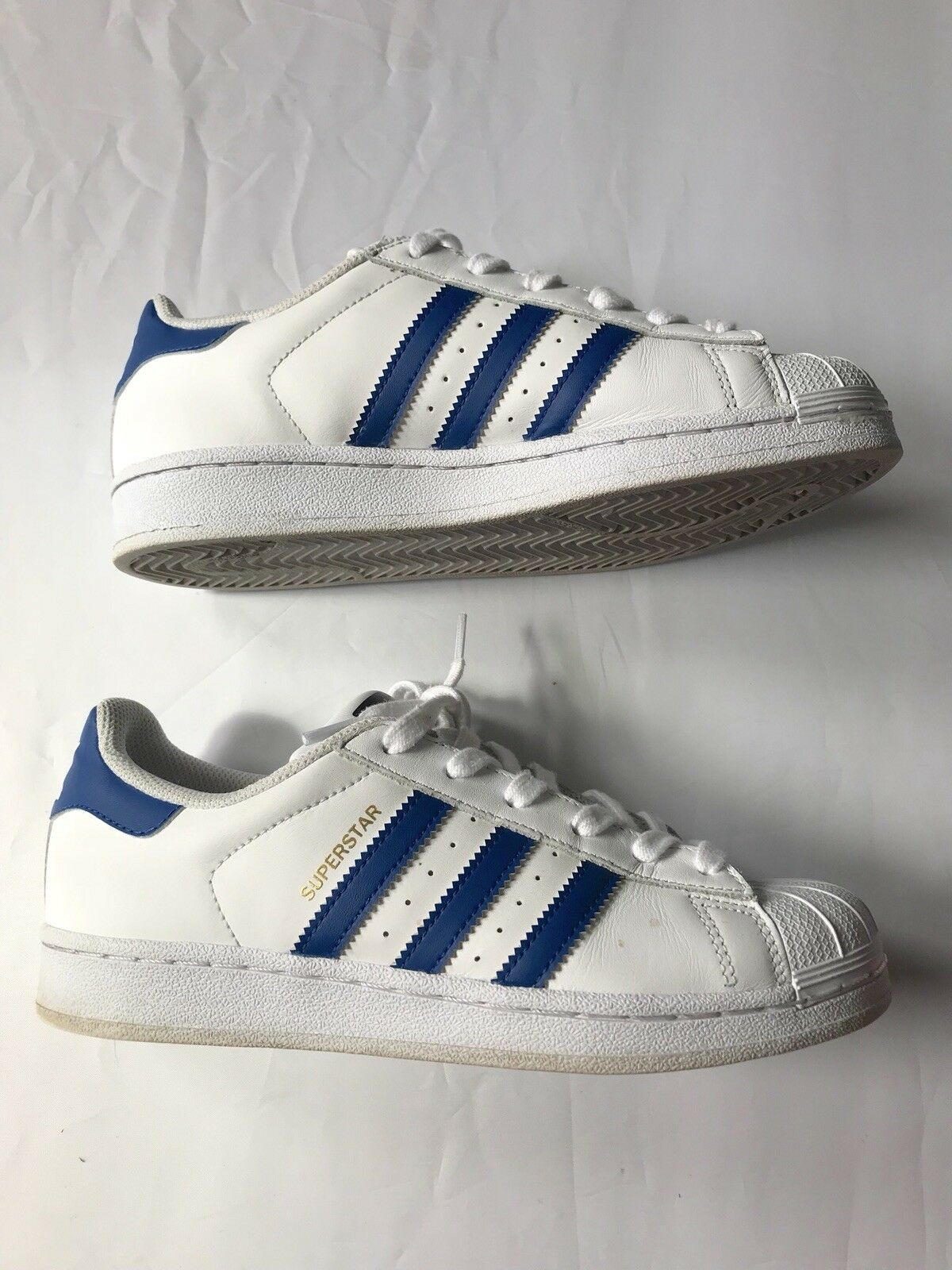Adidas Superstar Herren Weiß Blaue Sneakers Sz US 6