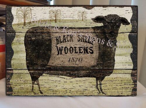Vintage Wooden Sign Black Sheep Woolens 1870 Country Farm Primitive Sheep