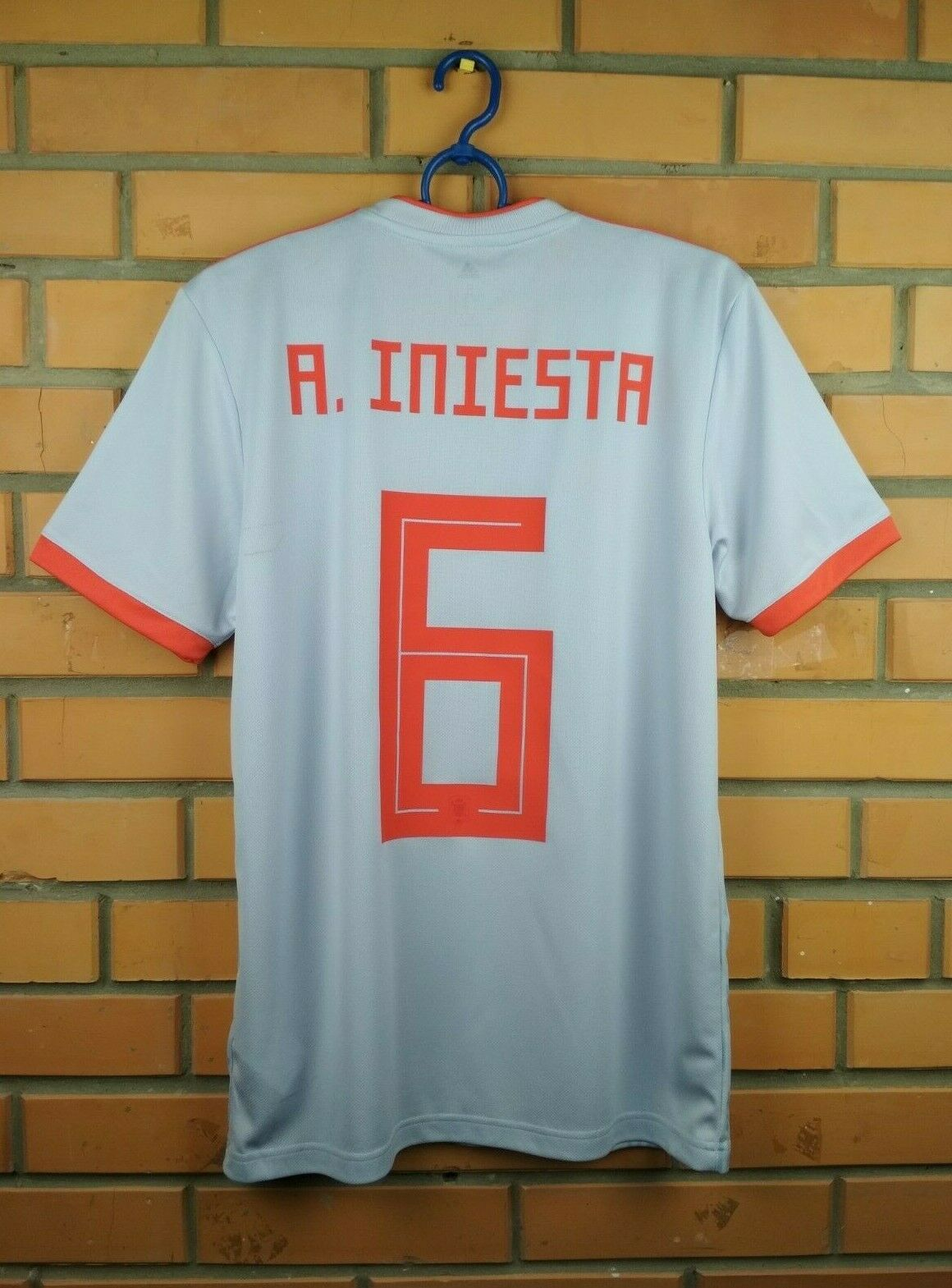 2643ac449 Iniesta Spain soccer jersey small 2018 2019 away shirt football Adidas