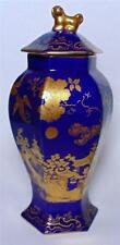 Cauldon Ltd Cobalt Blue TEMPIO JAR con cinesi DORATI DECORAZIONE circa 1910