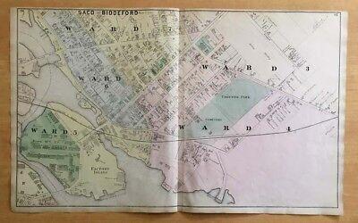 Original Antique 1872 Map Saco Biddeford Me Ward 3 4 5 6 7 Maine Very Detailed Ebay