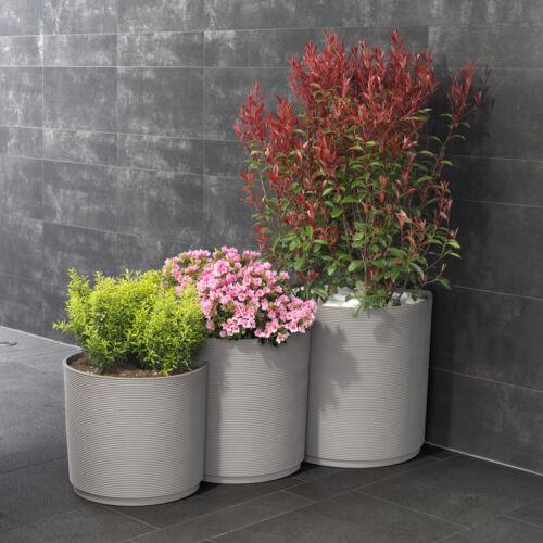 Set 3 vasi resina fioriere design componibili riciclabili color grigio cemento