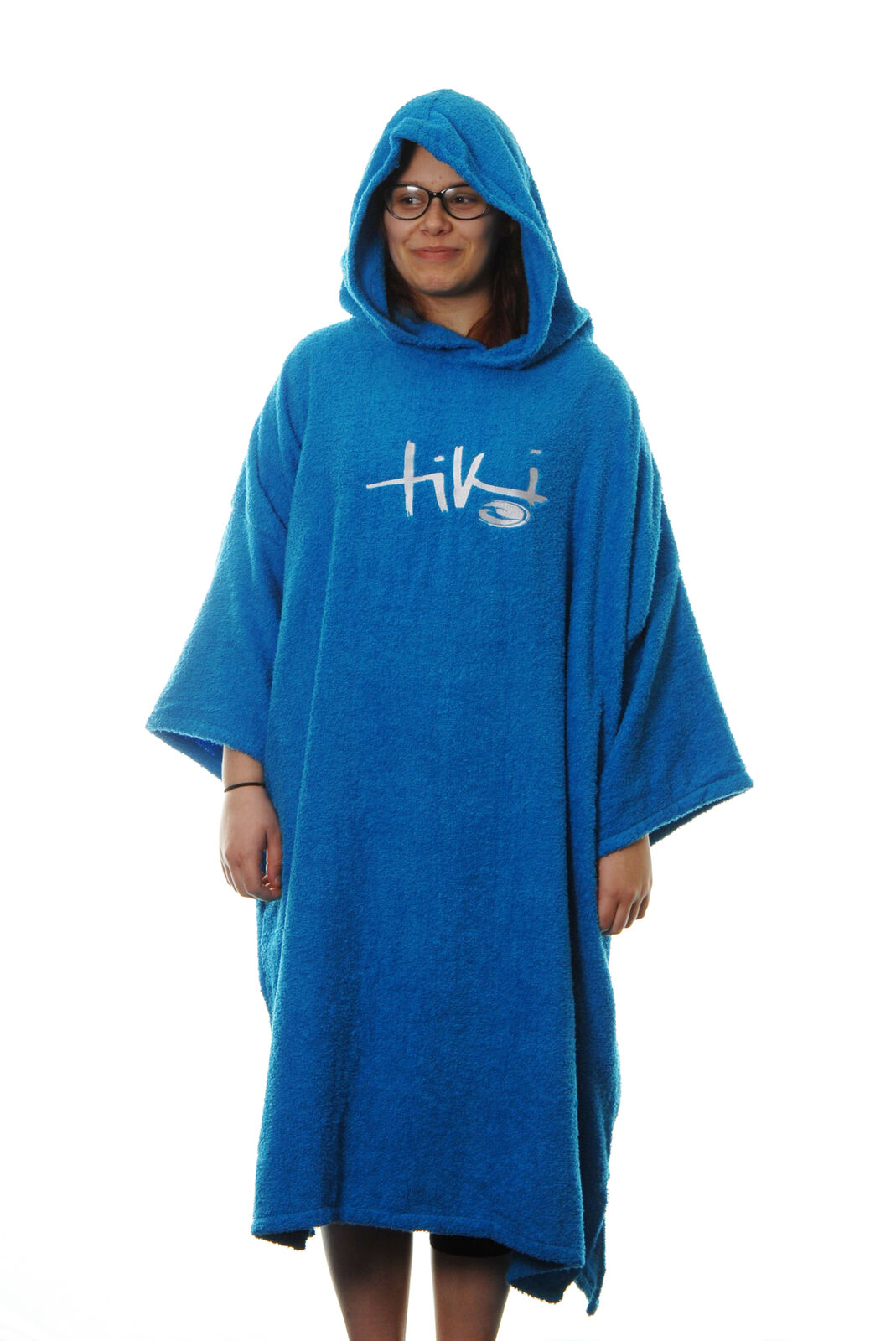 Tiki Adult Mens Womens Hooded Towelling Changing Robe Beach Swim Poncho bluee