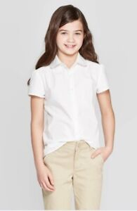 Cat-amp-Jack-Girls-Short-Sleeve-Woven-Blouse-Uniform-Shirt-White-XL-14-16