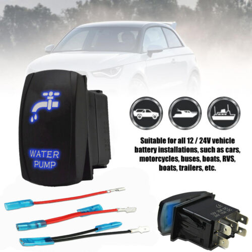 WATER PUMP Blue Laser Etched LED Rocker Switch 5 PIN Dual Light 20A 12V ON OFF