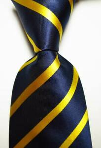 New-Classic-Striped-Dark-Blue-Gold-Yellow-JACQUARD-WOVEN-Silk-Men-039-s-Tie-Necktie