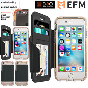 iPhone-8-7-6s-Case-For-Apple-Genuine-EFM-Monaco-Wallet-D3O-Bumper-Leather-Cover