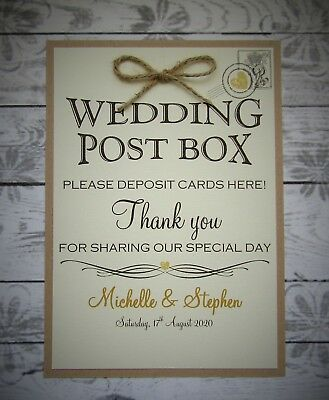 Cards post box wedding sign A4 Print White Ivory Craft Brown rustic vintage