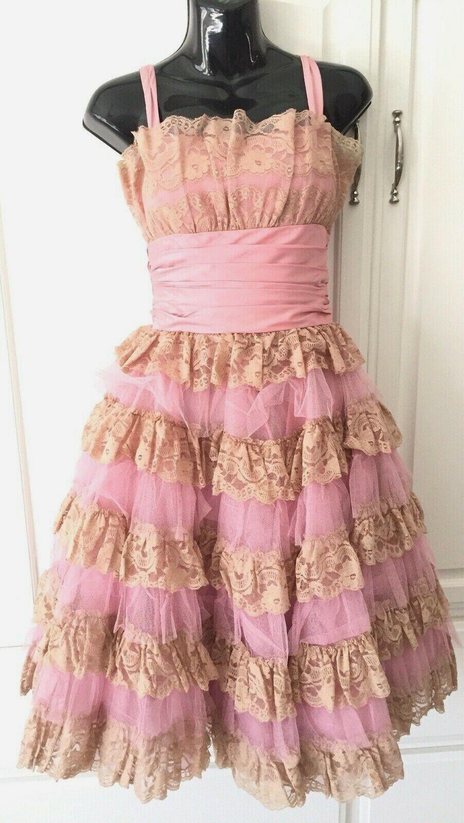 BETSEY JOHNSON XS XXS Designer CUPCAKE Prom Party Pinup Rosa Mauve Dress