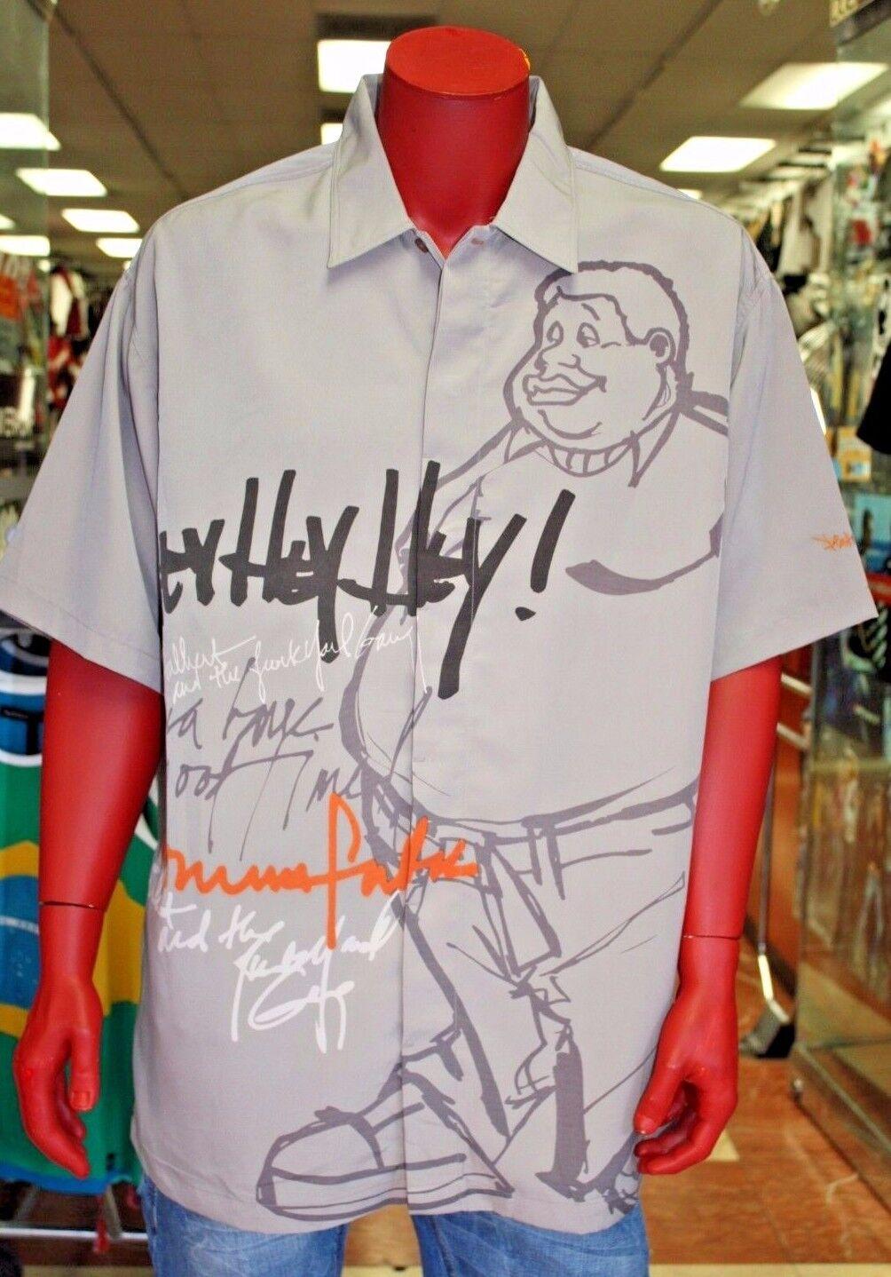 Men's Platinum Fubu Hey Hey Hey  Fat Albert Button Down Shirt