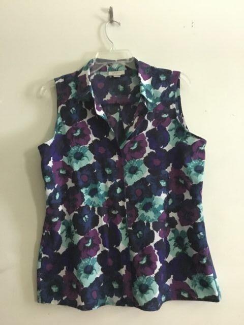 Ann Taylor Loft Purple Teal purple Floral Top Blouse Women Size M 100% Cotton