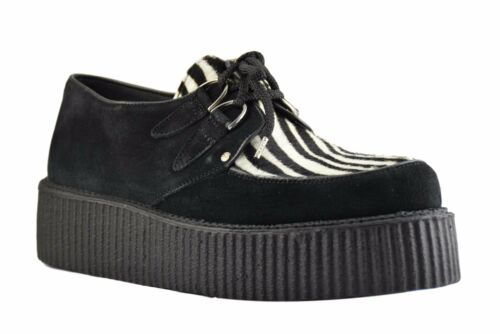 Steel Ground Shoes Black Suede Zebra Creepers High Sole D Ring Casual Sc310Z4Z55