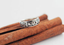 925 Sterling Silver Men Claddagh Irish Ring Celtic Promise Blackened Oxidized