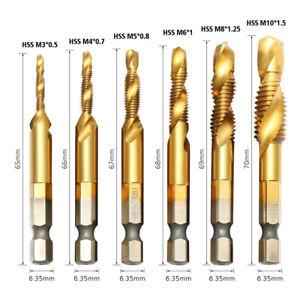 6-X-Punte-per-forare-e-filettare-maschiare-M3-M10-al-nitruro-di-titanio