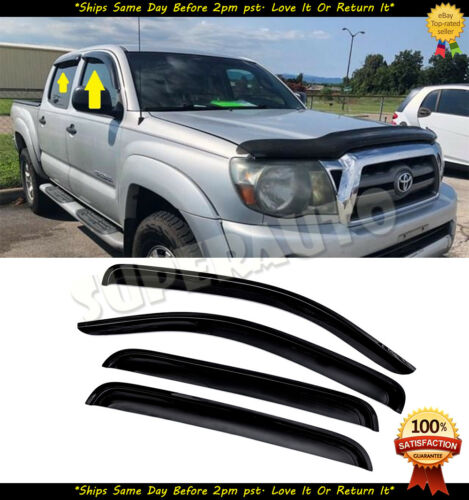 For 2005-2015 Toyota Tacoma Double Cab Smoke Window Visors Deflectors Vent Guard
