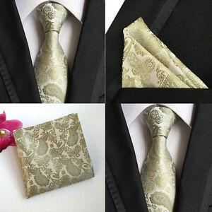 Men-Champagne-Paisley-Floral-Silk-Tie-Pocket-Square-Handkerchief-Set-Lot-HZ069