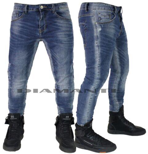Jeans uomo Denim blu pantaloni 5 tasche slim elasticizzati nuovo 2185