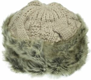 170c1a81c0b Aprileo Women s Knitted Hat Faux Fur Lined Trim Cable Winter Beanie ...