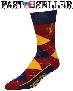 Cleveland Cavaliers For Bare Feet Team Logo Argyle Crew Socks - NEW! FAST!