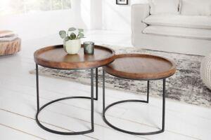 Designer Couchtisch Rund 2er Set Akazie Massivholz Tisch ...