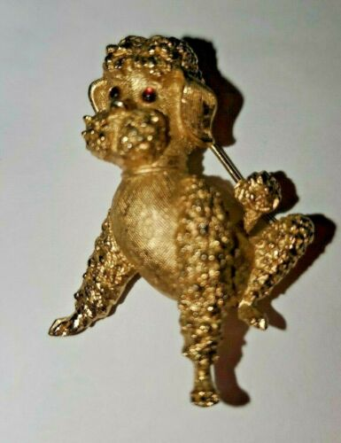Trifari 1950's Poodle With Red Stoned Eyes Pin