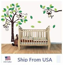 Baby Love Cheeky Monkey On Tree Wall Stickers Kids Nursery Decal Decor US Seller