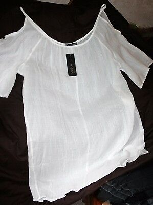 "White Cold Shoulder Tunic 50""Bust Sheer Plus Size Long-Line Summer Cover-Up BNWT"