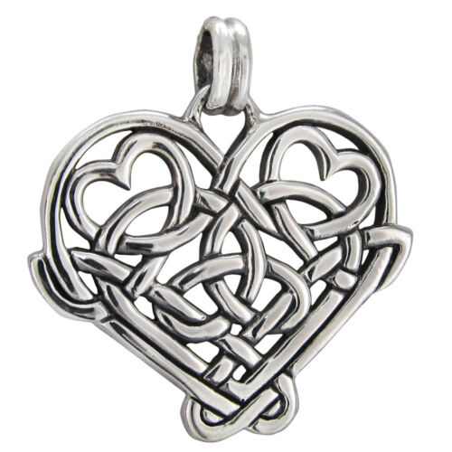 Sterling Silver Celtic Love Knot Heart Pendant Irish Knotwork Romatic Jewelry
