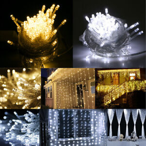 Warm-White-100LED-10m-Fairy-Curtain-String-Lights-Christmas-Xmas-Party-Hol-BRUS