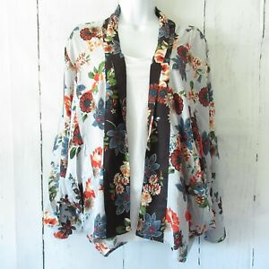 New-Angie-Kimono-Jacket-L-Large-Blue-Asian-Floral-Open-Front-Boho-Peasant