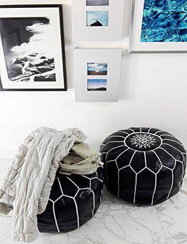Unstuffed Handmade Black Pouf Set of 2 Moroccan Ottoman Pouf Genuine Leather