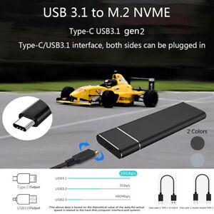 M2-SSD-Hard-Case-NVME-PCIe-Enclosure-M-2-to-USB-Type-C-3-1-GEN2-M-Key-Adap-H-Gn
