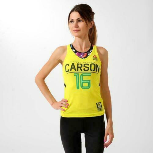Womens Reebok CrossFit Carson Training Fitness Running Racerback Tank Top Yellow