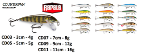 Rapala-CountDown-Fishing-Lures-3cm-5cm-7cm-9cm-11cm-4g-16g-Various-Colours