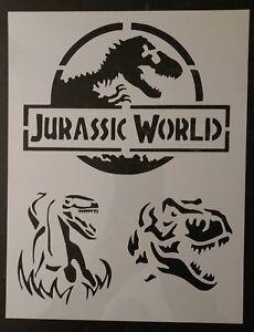 jurassic world park dinosaur raptor trex 8 5 x11 custom stencil