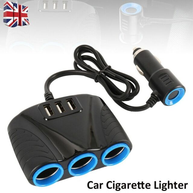 3Way Car Cigarette Lighter Socket Splitter 2 USB Charger Power Adapter 12/24V AN