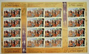 Canada Stamps - (2001) Full Pane 16 - 47c The Great Peace of Montreal #1915 -MNH