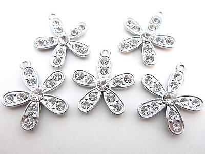 "10 Daisy Flower Crystal Rhinestone 1/"" Silver Plated Charm//Pandent//Jewel//Bead K70"