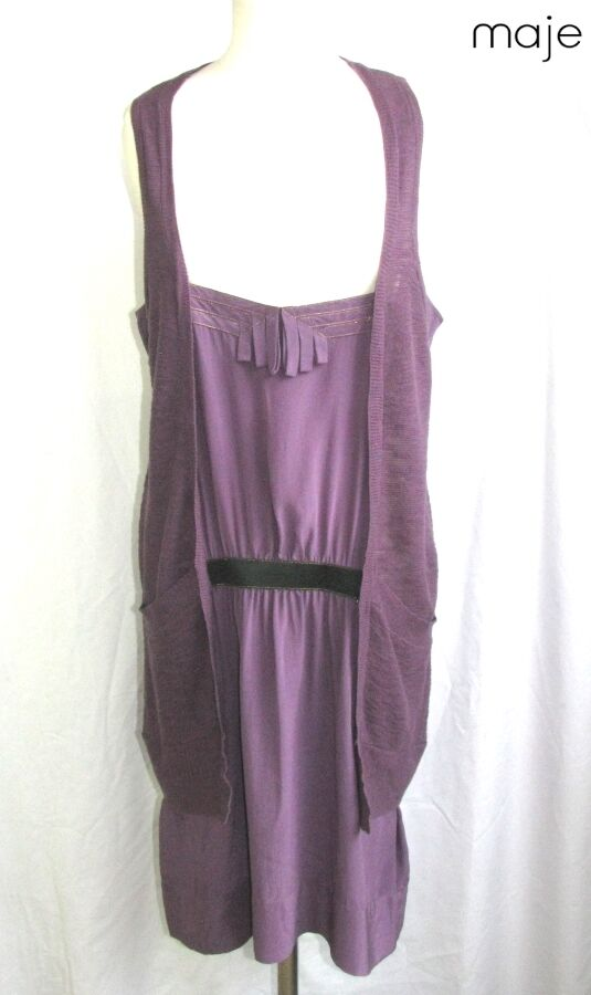 MAJE DRESS FEMALE MODEL MUSIK COTTON & SILK MAUVE T M   L = 40 42 EXCELLENT